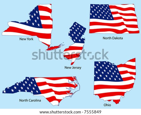 New York, New Jersey, North Dakota, North Carolina, Ohio outlines with flags