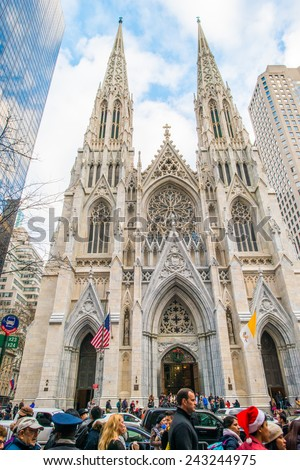 NEW YORK, NEW YORK - DECEMBER 25: Exterior of St. Patricks Cathedral on December 25, 2014, Christmas, in Midtown of Manhattan. - stock photo