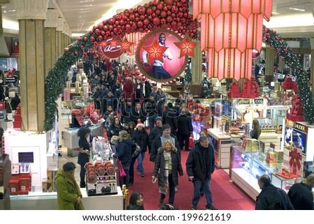 NEW YORK, NEW YORK - DECEMBER 18: Inside Macy's department store during Christmas.   Taken December 18, 2010 in New York City. - stock photo