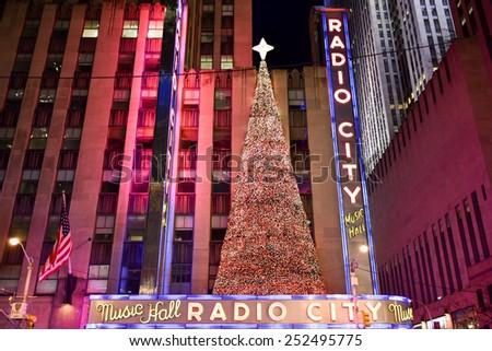 NEW YORK, NEW YORK - DECEMBER 25, 2014: Radio City Music Hall at night in New York during the holidays. - stock photo