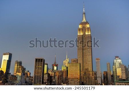 NEW YORK, NEW YORK - JANUARY 10, 2015: New York City skyline with urban skyscrapers at sunset.