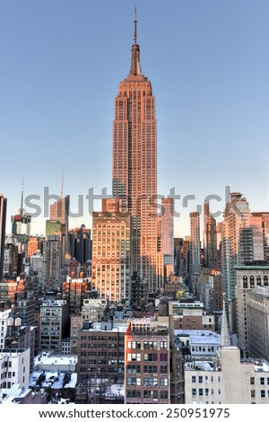 NEW YORK, NEW YORK - JANUARY 31, 2015: New York City skyline with urban skyscrapers at sunset. - stock photo