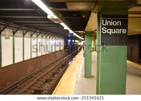 NEW YORK, NEW YORK - JANUARY 10, 2015: Union Square Subway Station in Manhattan. - stock photo