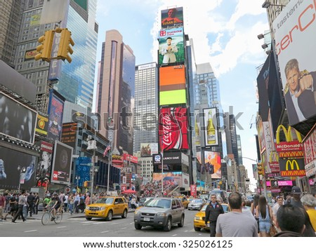 NEW YORK, NEW YORK - June 7, 2012 - Times Square in New York City, USA during the daytime - stock photo