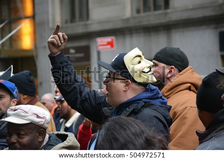 New York, New York. - October 26, 2016: Construction workers protesting the business practices of Deutsche Bank in front of their corporate headquarters on Wall Street in 2016 in New York City