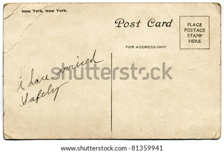 New York, New York Postcard with Handwritten Message, Early 1900 - stock photo