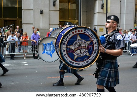 New York, New York. - September 9, 2016: Chicago Police Officers marching in a procession marking the anniversary of the 9/11 terrorist attacks in Lower Manhattan in 2016 in New York City.