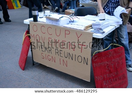 New York, New York. - September 17, 2016: Gathering at Zuccotti Park in Lower Manhattan to mark the fifth anniversary of the Occupy Wall Street movement in 2016 in New York City