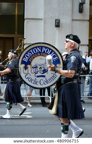 New York, New York. - September 9, 2016: Members of the Boston Police Department  marching in a procession to mark the anniversary of the 9/11 terrorist attacks in Manhattan in 2016 in New York City.