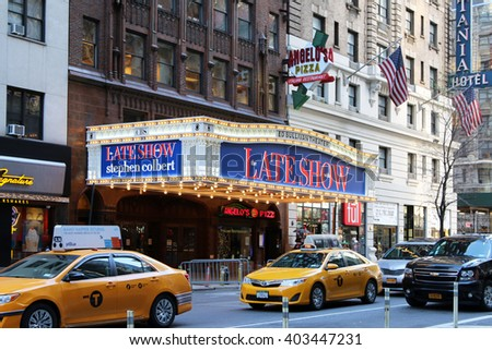 New York, New York, USA - APRIL 9, 2016: The Ed Sullivan Theater on Broadway which is home to the Late Show with Steven Colbert.  The Ed Sullivan Theater dates back to the early days of television.