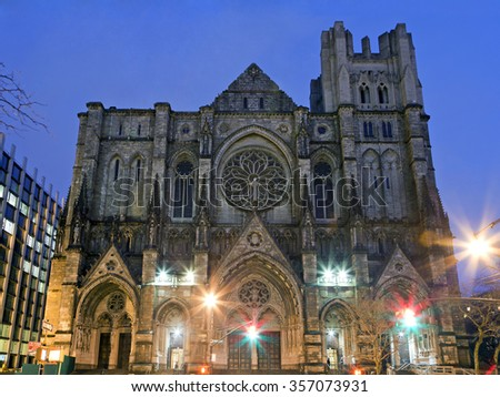 NEW YORK, NEW YORK, USA - DECEMBER 22: Exterior of Saint John Divine Church on West 110th Street and Amsterdam. Taken December 22, 2015 in New York. - stock photo