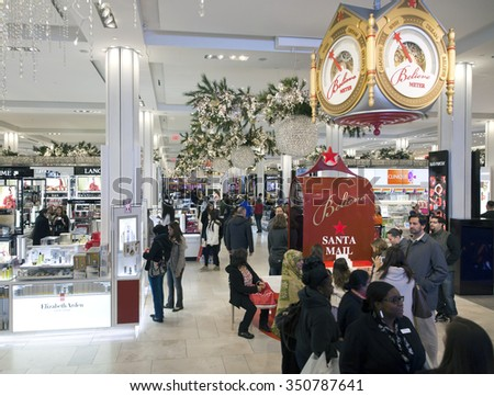 NEW YORK, NEW YORK, USA - DECEMBER 10: Shoppers visit Macy's department store in Herald Square and 34th street.  Taken December 10, 2015 in NY.