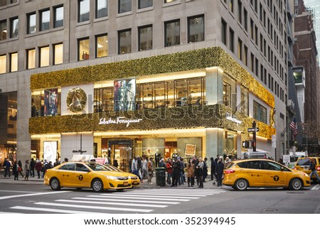 New York, New York, USA - December 11, 2015:  The Salvatore Ferragamo store on Fifth Avenue in midtown Manhattan during the Christmas Holiday season. Ferragamo produces luxury goods for men and women. - stock photo