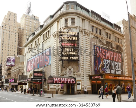 New York, New York, USA - May 1, 2011: The exterior of the well known Shubert Theatre on 44th Street between Broadway and 8th Avenue in Manhattan. Pedestrians can be seen. - stock photo