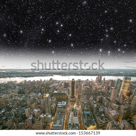 New York. Night above the Big Apple. - stock photo