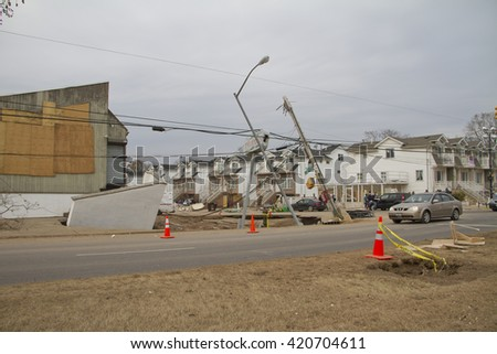NEW YORK -NOV 12:Damage after Hurricane Sandy in the flooded neighborhood at South Beach Staten Island area on November 10, 2012 in New York City, NY.  - stock photo