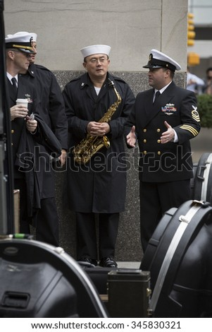 NEW YORK - NOV 25 2015: Military band members assemble before the annual Americas Parade up 5th Avenue on Veterans Day in Manhattan.
