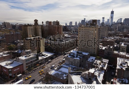 NEW YORK - NOV 6: Top view of the West Village and Lower Manhattan, on November 6 2012 in New York, New York. - stock photo