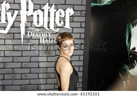 NEW YORK - NOVEMBER 15: Actress Emma Watson attends the premiere of 'Harry Potter and the Deathly Hallows: Part 1' at Alice Tully Hall on November 15, 2010 in New York City. - stock photo