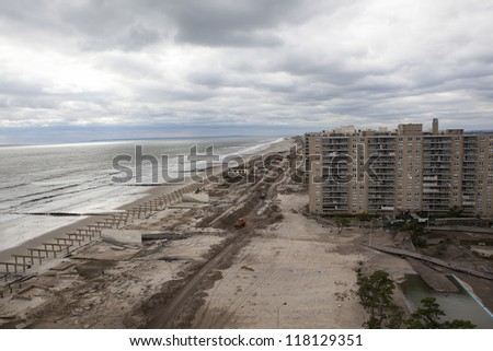 NEW YORK - November 1: Aftermath hurricane Sandy : panoramic view in Far Rockaway area   October 29, 2012 in New York City, NY - stock photo