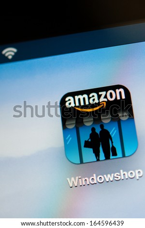 NEW YORK - NOVEMBER 13: Amazon Widnowshop on a tablet PC on November 13, 2013. Amazon.com has struck a deal with United States Postal Service, to deliver the company's packages on Sundays - stock photo