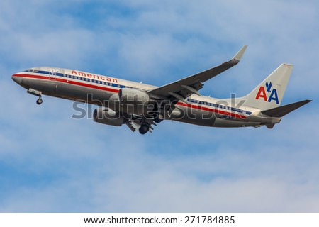 NEW YORK - NOVEMBER 3: Boeing 737 American Airlines takes off from JFK International Airport in New York, NY on November 3, 2013. JFK Airport is rated 4th biggest American Airport in the world. - stock photo