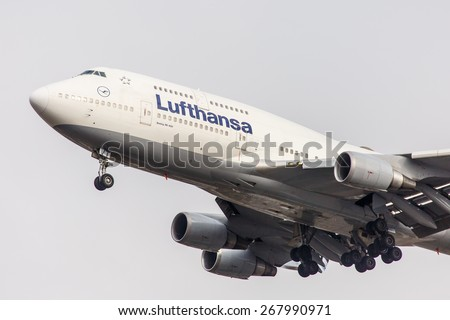 NEW YORK - NOVEMBER 3: Boeing 747 Lufthansa take off from JFK Airport located in New York, USA on November 3, 2013. Lufthansa is the flag carrier of Germany and the largest airline in Europe. - stock photo