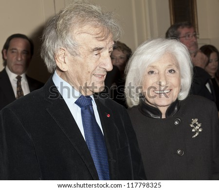NEW YORK - NOVEMBER 05: Elie Wiesel attends Lenox Hill hospital Autumn ball, award ceremony and fundraising to hurricane SAndy victims in Waldorf Astoria Hotel on November 05, 2012 in New York CIty - stock photo