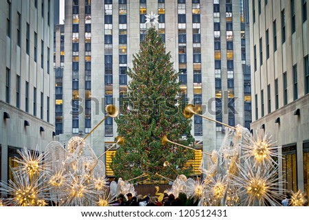 NEW YORK - NOVEMBER 30: Holiday Decorations and the Christmas tree in Rockefeller Center on November 30, 2012 in  New York City. - stock photo