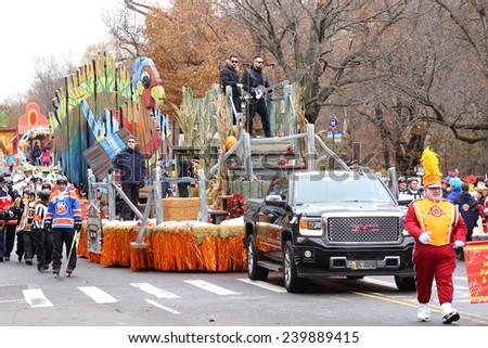 NEW YORK - NOVEMBER 27: Joel Madden and Benji Madden appear at the 88th Annual Macy's Thanksgiving Day Parade on November 27, 2014 in New York City. - stock photo