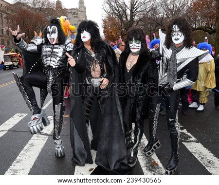 NEW YORK - NOVEMBER 27: KISS attends the 88th Annual Macy's Thanksgiving Day Parade on November 27, 2014 in New York City. - stock photo