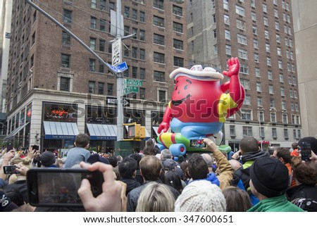 NEW YORK - NOVEMBER 26: Kool-Aid float on city street during the 89th Annual Macy's Thanksgiving Day Parade on November 26, 2015 in New York City.  - stock photo