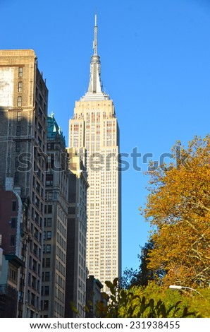 NEW YORK - NOVEMBER 19, 2014: Manhattan Skyline with Empire State Building, New York City, USA. - stock photo