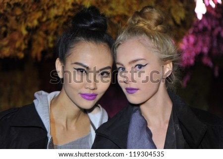 NEW YORK- NOVEMBER 15: Models gets ready backstage for Bet-ka collection for Fall 2013 during Tel Aviv Fashion in NYC Fashion Show Fundraiser at Greenhouse on November 15, 2012 in NYC - stock photo