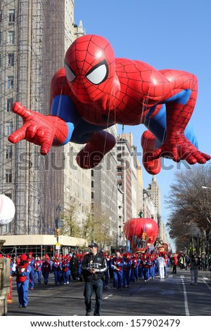 NEW YORK - NOVEMBER 24: Spider-man balloon is flown at the 86th Annual Macy's Thanksgiving Day Parade on November 24, 2011 in New York City.