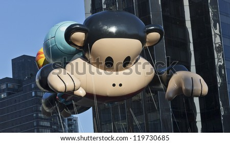 NEW YORK - NOVEMBER 22: The Julius the Monkey balloon is flown at the 86th Annual Macy's Thanksgiving Day Parade on November 22, 2012 in New York City.