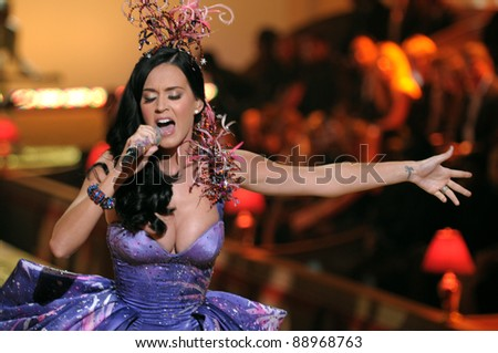 NEW YORK - NOVEMBER 10: Victoria's Secret Fashion Singer Katy Perry walks the runway during the 2010 Victoria's Secret Fashion Show on November 10, 2010 at the Lexington Armory in New York City. - stock photo