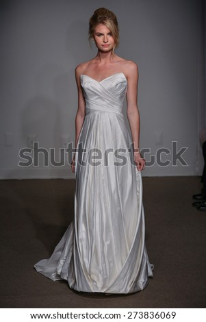 NEW YORK, NY - APRIL 19: A model walks the runway at the Anna Maier / Ulla-Maija Couture Bridal Spring/Summer 2016 Runway Show on April 19, 2015 in NYC