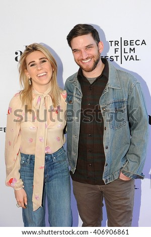 NEW YORK, NY APRIL 14: Actors Zosia Mamet and Evan Jonigkeit attend the World Premiere Narrative 'Kicks' at the 2016 Tribeca Film Festival at SVA Theatre 2 on April 14, 2016 in New York City. - stock photo