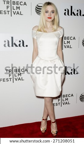 NEW YORK, NY - APRIL 17: Actress Dakota Fanning attends the premiere of 'Franny' during the 2015 Tribeca Film Festival at BMCC Tribeca PAC - stock photo