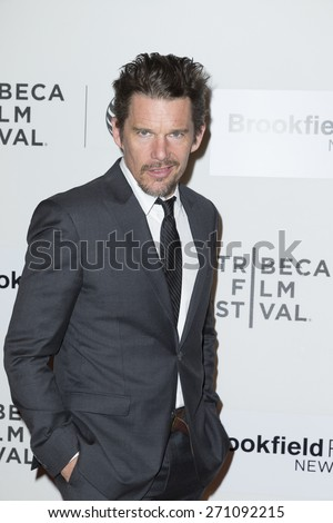 New York, NY - April 19, 2015: Ethan Hawke attends Tribeca Film Festival premiere of Good Kill film at BMCC Tribeca Performing Arts Center - stock photo