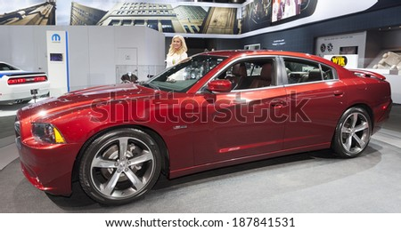 New York, NY - APRIL 16, 2014: Exterior design of Dodge Chrysler Challenger car edition 2015 on display at New York International Auto Show - stock photo