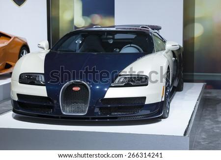New York, NY - April 2, 2015: Exterior of Bugatti sport car on display at New York International Auto Show at Javits Center - stock photo