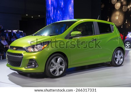 New York, NY - April 2, 2015: Exterior of Chevrolet Spark car on display at New York International Auto Show at Javits Center - stock photo