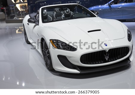 New York, NY - April 2, 2015: Exterior of Maserati Granturismo car on display at New York International Auto Show at Javits Center - stock photo