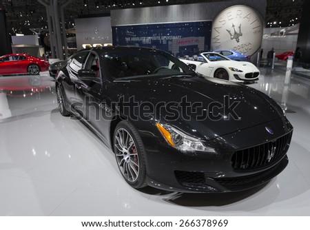 New York, NY - April 2, 2015: Exterior of Maserati Quattraparte car on display at New York International Auto Show at Javits Center - stock photo