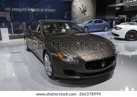 New York, NY - April 2, 2015: Exterior of Maserati Quattraparte car on display at New York International Auto Show at Javits Center