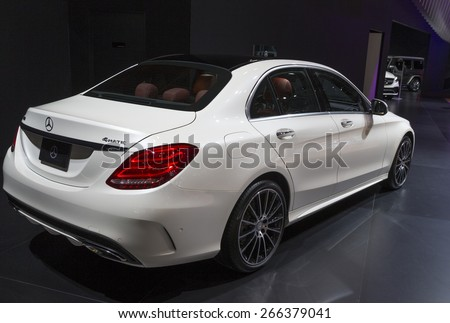 New York, NY - April 2, 2015: Exterior of Mercedes C-Class car on display at New York International Auto Show at Javits Center