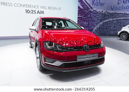 New York, NY - April 2, 2015: Exterior of Volkswagen Golf sport car on display at New York International Auto Show at Javits Center