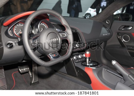 New York, NY - APRIL 16, 2014: Interior design of Audi R8 V10 plus car edition 2015 on display at New York International Auto Show